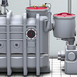 Grease separators for free-standing installation